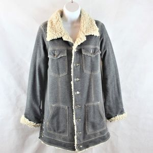 Free People Embroidered Sherpa/Shearling Coat
